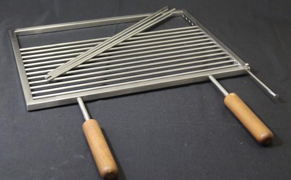 Edelstahl-Grillrost V2A mit festen Holzgriffen